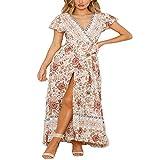 Subink Bedrucktes Kleid Sexy V-Ausschnitt Damen Sommer Party Strand Rock Casual Urlaub Bedruckt Sexy...