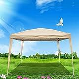 Faltbar Pavillon 3x3m Wasserdicht, Höhenverstellbar Pop Up Faltpavillon, UV-Schutz 50+ Gartenzelt,...