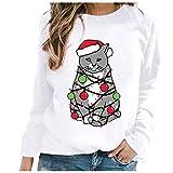 Dicomi Party Kleid 2020 Weihnachtspullover Damen Modedruck Rundhals-Pullover Weihnachten...