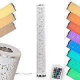 LED Stehlampe Tumba, dimmbare Stehleuchte aus Metall/Stoff in Weiß/Chrom, 8 Watt, 700 Lumen,...
