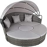 TecTake 800764 Hochwertige XXL Aluminium Polyrattan Sonneninsel mit aufklappbarem Sonnendach, Lounge...