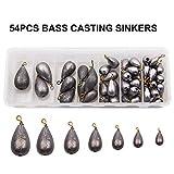 54stk sortiert Bell/Bass Casting Sinker Bleie Gewichte Angelausrstung kit