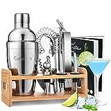 Godmorn Cocktail Set, Edelstahl Cocktail Shaker Set, 15 Teiliges Barkeeper Set mit Bessere Bambus...