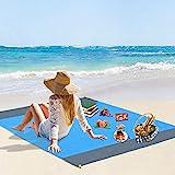 Vegena Picknickdecke Wasserdicht 210 x 200 cm, Stranddecke Sandfrei Matte mit 4 Pfosten und Tasche,...
