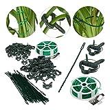 Relaxdays Pflanzenhalter, grün Set 110-teilig, stabile Pflanzenclips, Bindedraht mit Cutter,...