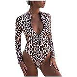 Skang Dame Sexy Leopardenmuster UndSchlangenmuster Lange rmel Neoprenanzug One Piece Bikini Swimsuit...