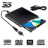 Externe Blu Ray CD DVD Laufwerk 3D, Tragbar USB 3.0 USB Type C Bluray CD DVD RW Rom für PC MacBook...