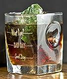 KolbergGlas Whiskey Glas mit realem Geschoß cal.308 und Gravur - Good Day- Bad Day- What Day?-...
