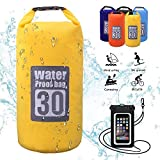 WIN.MAX Wasserdichte Wasserdichter Packsack mit Handybeutel, Gelb, 10L