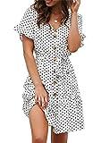 Sommerkleid Damen Kurzarm Elegant V-Ausschnitt Knopfleiste Polka Dot Kurze Strand Freizeitkleider mi...