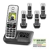 Gigaset Family Quintett mit Anrufbeantworter - 5 schnurlose Telefone mit großem, farbigem Display...