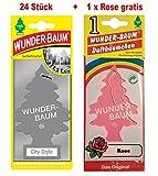 Wunderbaum 24 Stück City Style Wunder-Baum Lufterfrischer Duftbaum + 1 Stück Rose...