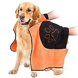 VIKEDI Hundehandtuch, Mikrofaser Hundebademantel Handtuch für große und mittlere Hunde, Katzen,...