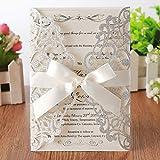 Hosmsua 20x Silber Hochzeit EinladungsKarten Für Lasercut Elegante Blume Spitze Glückwunsch...