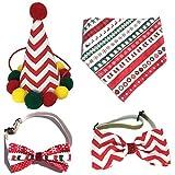Xuebai 4 Stück Weihnachten Hundemütze Bowtie Speichel Handtuch Set Pet Puppy Party Urlaub Kostüm...