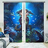 HomeAZWQ Blickdicht Vorhang Gardinen Schlafzimmer Verdunklungsgardinen Meerjungfrau H166 X W150Cm