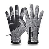 HiMoliwa Winterhandschuhe Touchscreen Finger Skifahren Handschuhe Herren Damen - Grau - X-Large