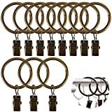 Pulluo 40 pcs Gardinenringe mit Clips 32 mm Vorhangringe mit Clips Vorhang Ringe Metall Bronze...