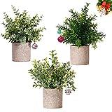 NEWROAD Künstliche Pflanzen Blume 3 Stück Eukalyptus Rosmarin Babysbreath Simulation Grüne Bonsai...