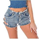 Rosennie Shorts Damen Sommer Jeans Shorts Denim Shorts Hosen Hohe Taille Sexy Mini Shorts Loch Kurze...