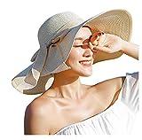 ericotry Damen Strohhut mit großer Schleife, Strandmütze, breiter Schlapphut, faltbar, mit großer...