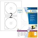 HERMA 8624 CD-/DVD-Etiketten inkl. Positionierhilfe DIN A4 blickdicht (Ø 116 mm MAXI, 10 Blatt,...