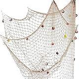 Fangoo 200 cm x 150 cm Fischernetz mit Muscheln Strand Thema Dekor für Party Home Wohnzimmer...
