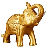 Bonarty Feng Shui Geld Lucky Fortune Oriental Chinese Wealth Elephant Decoration - Golden