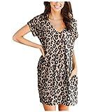Berimaterry Damen Kleid Sommerkleider Mode Print Kurzarm Minikleid Blumenkleid Casual V-Ausschnitt...
