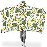 O4EC2-8 Tragbare Decke Universal Hooded Blanket Avocado Weiß Muster Gedruckt Pelzdecke Mikrofaser...