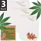 ecopura Nussmilchbeutel aus Hanf - 3er Set (S, M, L) Nut Milk Bag - Passiertuch, Filtertuch fr Nuss-...