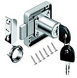 Schrankschloss Möbelschloß Zylinder-Möbelschloss Aufschraubschloss mit Schlüssel Set für...
