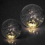 2er Set LED Solarleuchten Glaskugel Ø15/20cm Bruchglas-Optik, 6h Leuchtdauer, Lichtsensor...