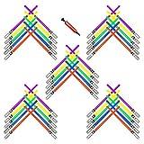 megasumer 50 aufblasbare Lichtschwerter mit Luftpumpe, je 10 Stück: lila, grün, gelb, rot, blaue...