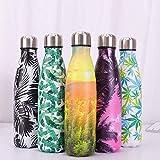 ZLKMQ 500 ml Wasserflasche - Edelstahlflasche, auslaufsicher, isoliert, Outdoor-Cup-Sportflasche,...