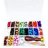 Siegelwachsperlen, achteckig, mit Aufbewahrungsbox + 2 Teelichter + 1 Siegelwachs-Löffel +...