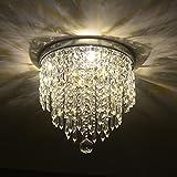 Depuley Modern Kronleuchter Kristall Leuchte mit Elegantem Design, Kristall Deckenleuchte, Breite 25...
