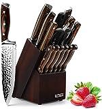 HOBO Messerblockset, Messerset 15-teiliges,Küchenmesserset mit Anspitzer Küchenschere,...