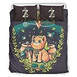 Karela Dreiteiliger Anzug Warm Betttuchbezug Set mit Reißverschluss, Zelda Pattern Bettwäscheset...
