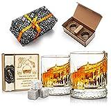 Geschenkset mit Whisky-Steinen und -Gläsern, 2 Whiskygläser, Whisky-Geschenkset für Herren,...