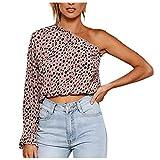 KIMODO Damen T-Shirts Frauen Sexy Leopardenmuster Schulterkragen Langarmshirt Patchwork Locker...