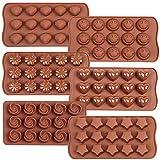 6PCS Pralinenform aus Silikon - schokoladenformen silikonLächeln,Stern, Muschel,Runde,Blume und...
