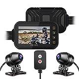 BaiTTang Motorrad-Dash Cam, Fullbody wasserdicht 3 '' IPS-Bildschirm & 1080p + 720p Dual Ahd Vordere...