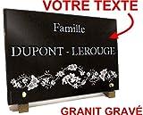 Unbekannt Grabschild aus Granit mit Gravur 30 x 20 x 2 cm