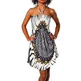 H112 Damen Sommer Aztec Bandeau Bunt Tuch Kleid Tuchkleid Strandkleid Neckholder, Farben:F-021...