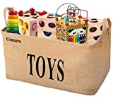 Gimars 20 zoll Große Spielzeugkiste, Spielzeug Aufbewahrungskiste, Spielzeugbox aus Jute, faltbar...