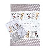 Küche Geschirrtücher Handtuch Küchentücher 2er-Set Weiß Qualität Baumwolle Hunde Design 50x70...