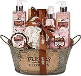 BRUBAKER Cosmetics Bade- und Dusch Set Kokosnuss & Erdbeer Duft - 11-teiliges Geschenkset in Vintage...