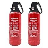 2X ANDRIS® Feuerlöscher ABC Pulver 2kg, für Auto/LKW, mit KFZ-Drahthalter, handliche Griffhaube...
