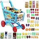 deAO Kinder Einkaufswagen Spielset Gefüllt mit 50 Kuststofflebensmitteln Spielzeug für Jungen und...